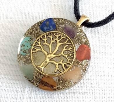 7 Chakra Orgonite Pendant with Tree of life