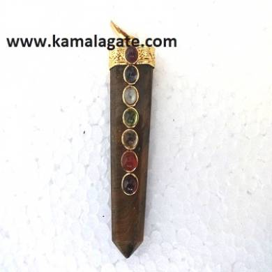 Chakra Tiger Eye Flat Pendents (Golden)