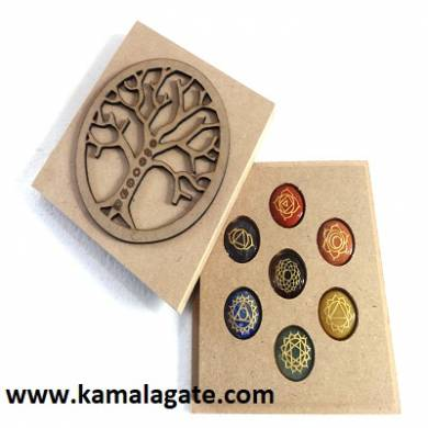 Seven Chakra Engraved Set with Tree of life Wooden Box