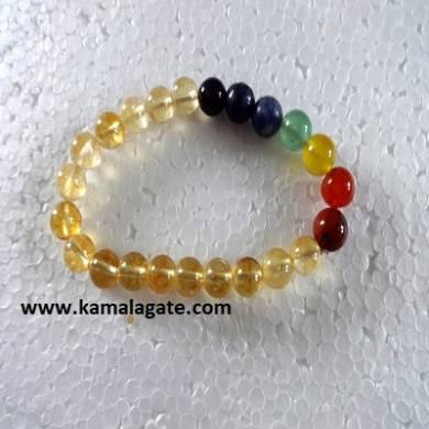 Citrine Plain Elastic Chakra Bracelets