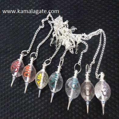 Crystal Quartz Colorful Ball Sanskrit Pendulum Sets
