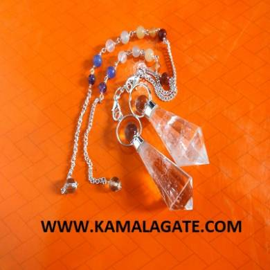 Crystal Quartz Faceted Drop Pendulums With Chakra Chains