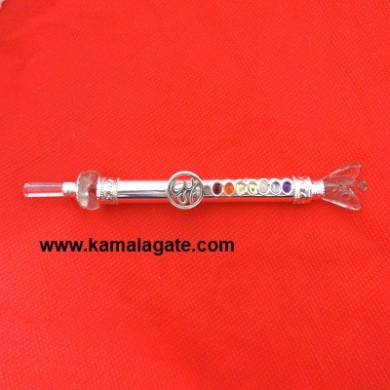 Crystal Quartz Angle with Om Symbol Chakra Metal Healing Stick