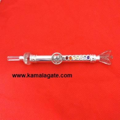 Crystal Quartz Angle with Om Symbol Chakra Metal Healing Stick