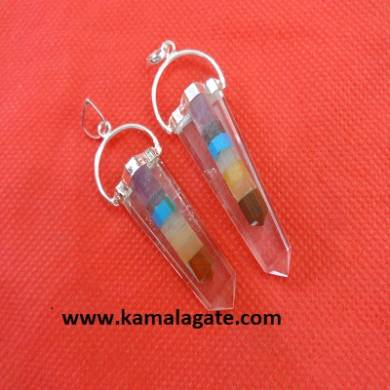 Crystal Quartz Chakra Bonded with Flat Pendents