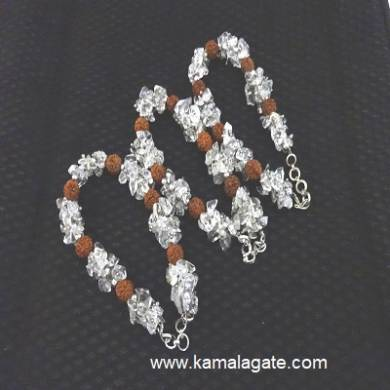 Crystal Quartz Chips & Rudraksha Strings Bracelets