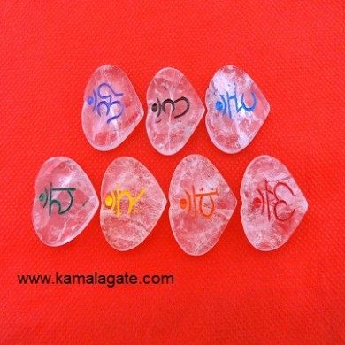 Crystal Quartz Colorful Heart Sanskrit Words Sets