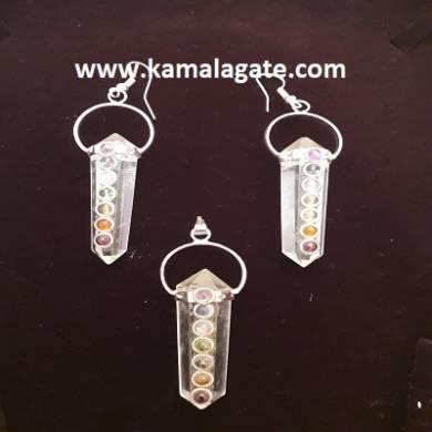 Crystal Quartz Seven Chakra DP Necklace Set