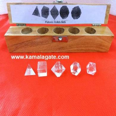 Crystal Quartz Five Pieces Geometry Sets With Wooden Box