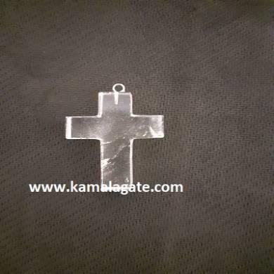 Crystal Quartz Gemstone Cross Pendant