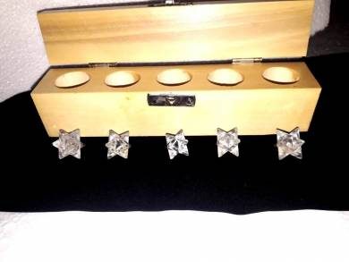 Crystal Quartz Merkaba Star Five Pcs Geometry Sets With Wooden Box