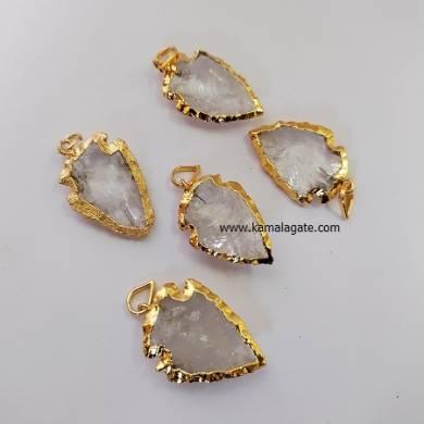 Crystal Quartz Gemstone Point Arrowhead Electroplated pendant