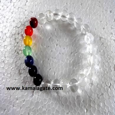 Crystal Quartz Plain Elastic Chakra Bracelets