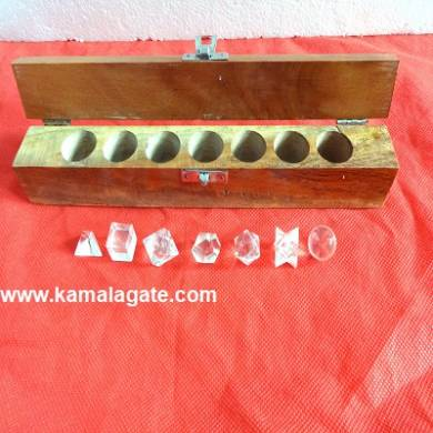 Crystal Quartz Seven Pieces Geometry Sets With Wooden Box