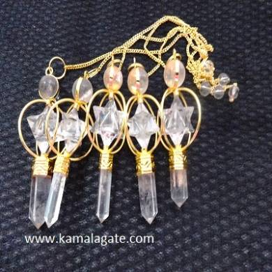 Crystal Quartz Spinning Pendulum Star(GOLDEN)