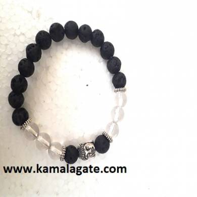 Crystal Quartz With Lava Stone Bhuddha Bracelets