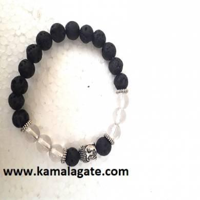 Crystal Quartz With Lava Stone Bhuddha Bracelets