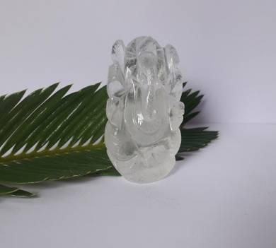 Crystal Quartz Gemstone Carved Ganesha
