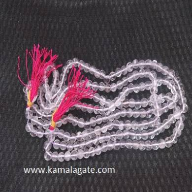 Crystal Quartz 8mm Beads Jap Mala With Silver Charms