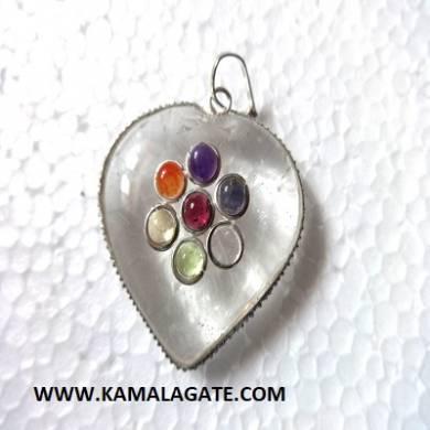 Crystal quartz Seven Chakra stone embedded Heart pendant