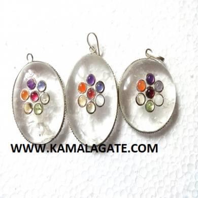 Crystal quartz Seven Chakra stone embedded Palm cabs Frame pendant