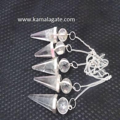 Crystal Quartz Cone Shape Pendulum (SILVER)
