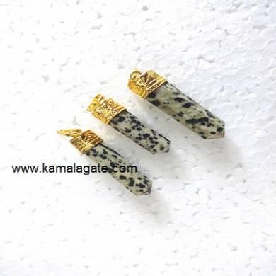 Dalmation jasper pencile Golden pendent