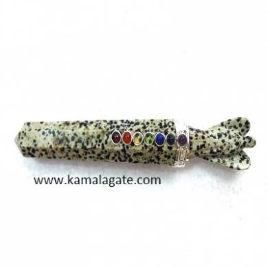 Dalmation Jasper Healing Wand With Crystal Angel