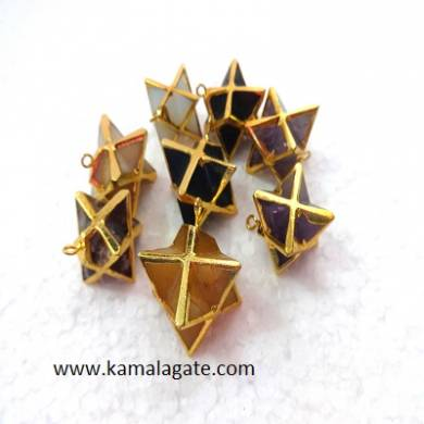 Electroplated Merkaba Star Pendents