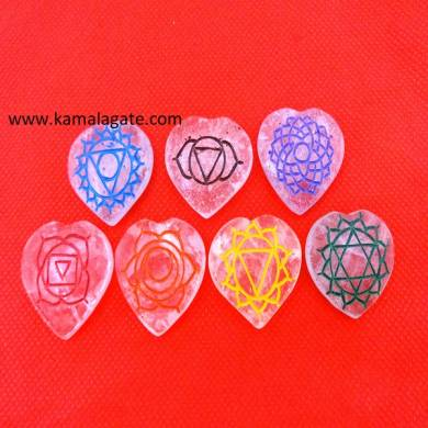 Engraved Crystal Quartz Colorful Heart Shape Chakra Sets