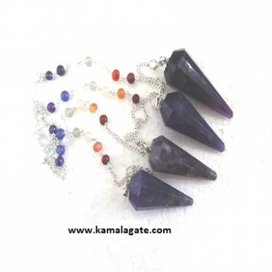Faceted Amethyst Pendulums With Chakra Chain