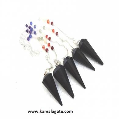 Faceted Black Jasper Pendulums With Chakra Chain