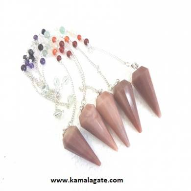 Faceted Chocalete Jasper Pendulums With Chakra Chain