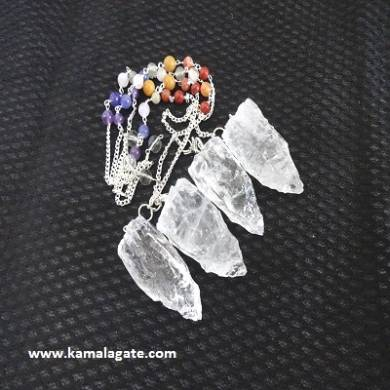Crystal Quartz Cluster Pendulum With Chakra Chain