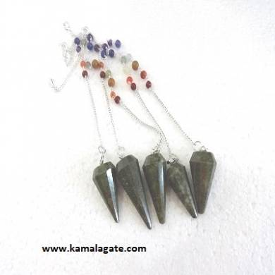 Facete Grass Jasper Pendulums With Chakra Chain
