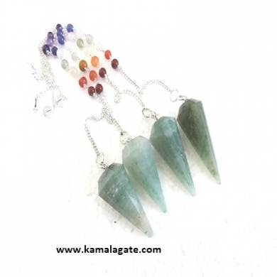 Faceted Green Aventurine Pendulums With Chakra Chain