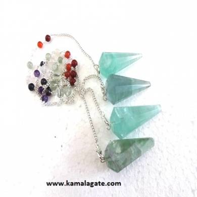 Faceted Green Flourite Pendulums With Chakra Chain