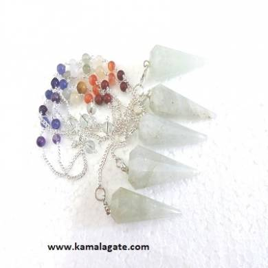 Faceted Green Quartz Pendulums With Chakra Chain