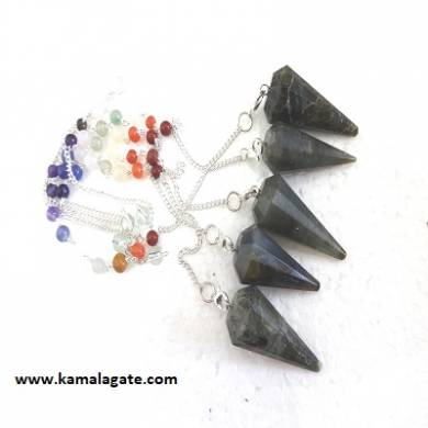 Faceted Labrodolite Pendulums With Chakra Chain