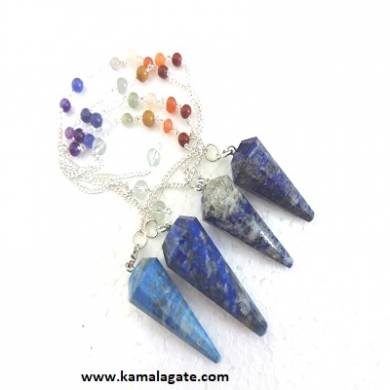 Faceted Lapiz Lazuli Pendulums With Chakra Chain
