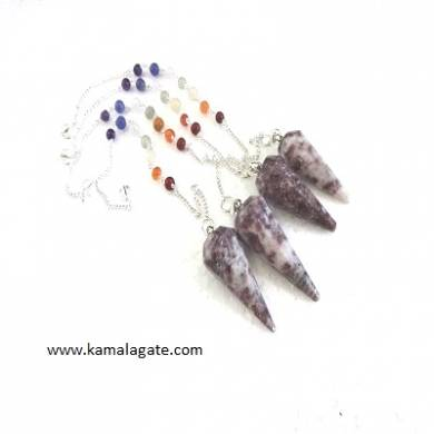 Faceted Lepedolite Pendulums With Chakra Chain