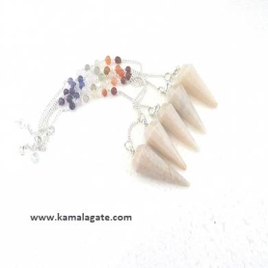 Faceted Moonstone Pendulums With Chakra Chain