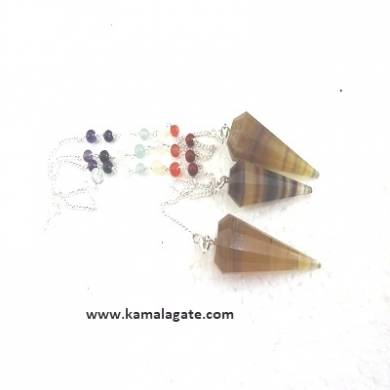 Faceted Multi Flourite Pendulums With Chakra Chain