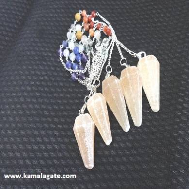 Faceted Orange Senolite Pendulums With Chakra Chain