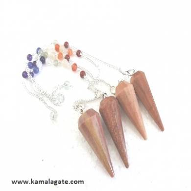 Faceted Peach Aventurine Pendulums With Chakra Chain