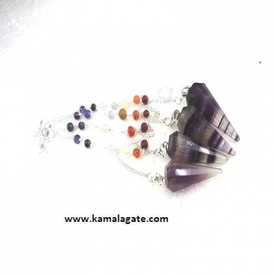 Faceted Purple Flourite Pendulums With Chakra Chain