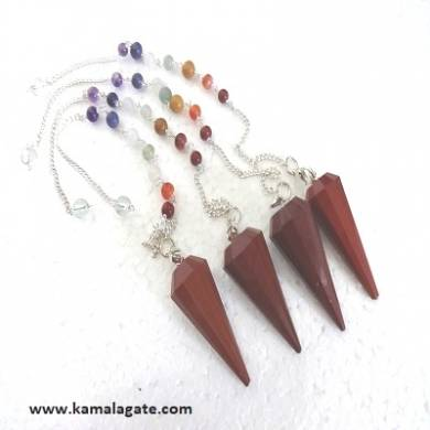 Faceted Red Jasper Pendulums With Chakra Chain