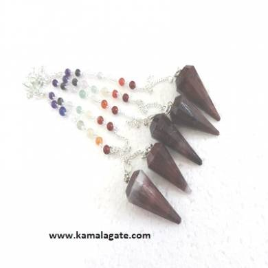 Faceted Red  Tiger Eye Pendulums With Chakra Chain