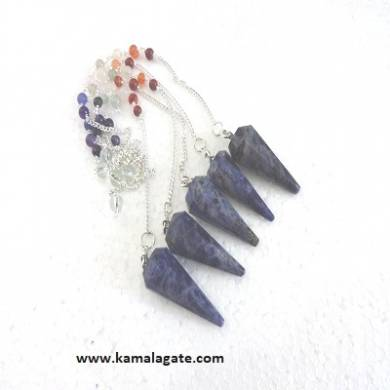 Faceted Sodalite Pendulums With Chakra Chain