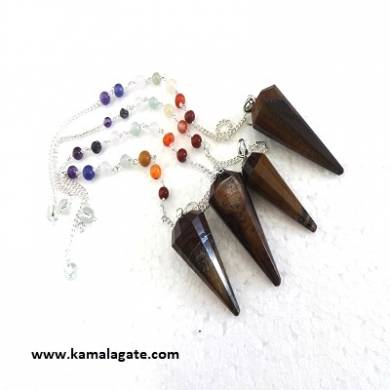 Faceted Tiger Eye Pendulums With Chakra Chain